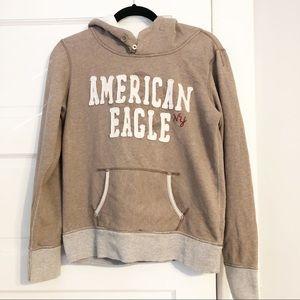 American Eagle Distressed Look Beige Hoodie - M